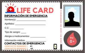 Tarjeta de identificacion de emergencia Life Card