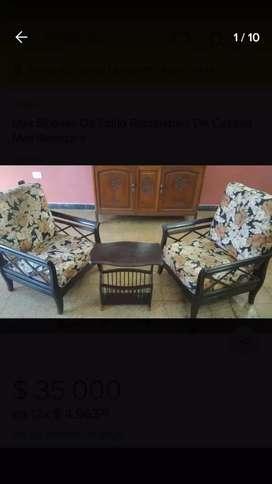 Dos sillones con revistero reclinables de estilo y calidad