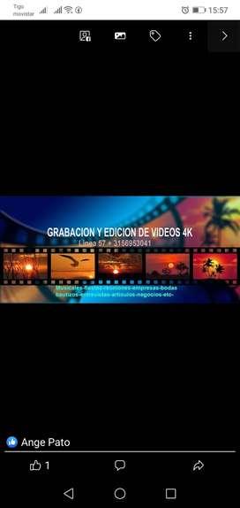 Grabación y edición de video (toma de fotos bodas. Etc.)