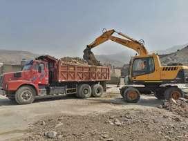 Alquiler equipos para construcción cargador frontal Excavadora bobcat venta agregados arena piedra chancada afirmado