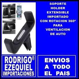 SOPORTE HOLDER EXTENSIBLE IMPORTADO CON ROTACION 360º PARA VENTILACION DE AUTO IMPORTADO