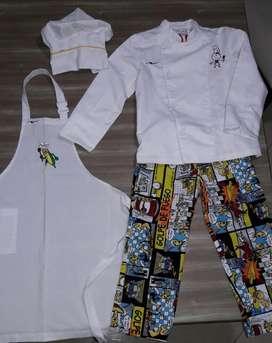 uniforme o disfraz de chef original 4 a 6 años marca Colombiachef