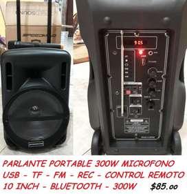 PARLANTE PORTABLE 300W MICROFONO/USB/TF/FM/REC/REMOTE CONTROL