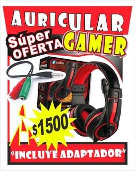 Auriculares gamer noga con adaptador PREMIUM REFORZADO de regalo para pc ps3 ps4!!!