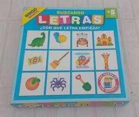 Juego de mesa Bingo Infantil Buscando Letras