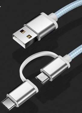 Cable USB con 2 fichas de salida para carga de celular, ficha micro USB y ficha C