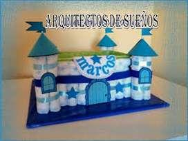 pastel de pañales estilo castillo