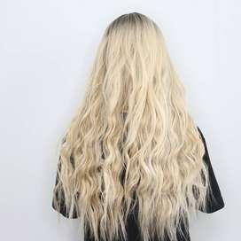 peluca rubia de cabello humano natural
