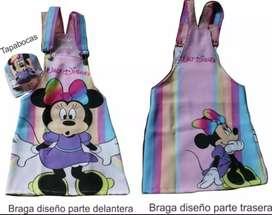 Braga o jardinera Niña con tapabocas de Minnie,tiktok, princesas, mujer maravilla etc.