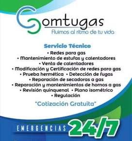 Servicio técnico para estufas, calentadores, hornos, freidoras y secadoras a gas.