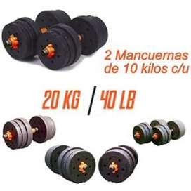 Kit de pesas o mancuernas 40 libras 20 kilos