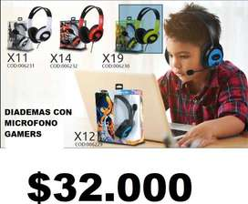Auriculares Audifonos Diademas Cableados para juegos Gamer PC o Telefonos