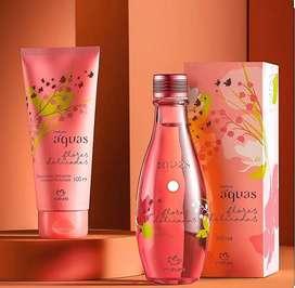 Perfume aguas flores delicadas de 150ml + crema corporal perfumada hidratante flores delicadas de 100ml de natura