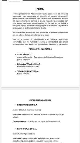 BUSCO EMPLEO SERVICIO AL CLIENTE/CAJERA/CALLCENTEE