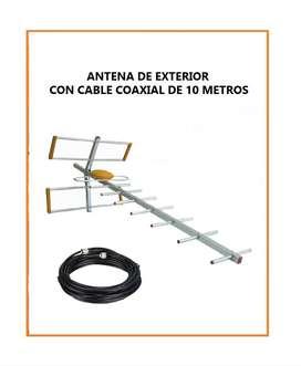 ANTENA DE EXTERIOR SM-9E CON CABLE COAXIAL DE 10 METROS