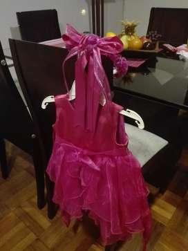 Vestido Niña Fuscia Talla 2 Nuevo Vincha