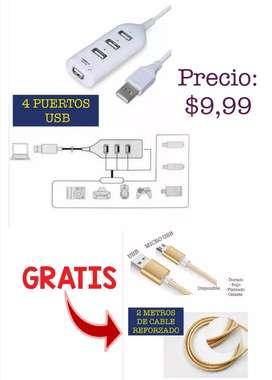 Adaptador con 4 puertos USB