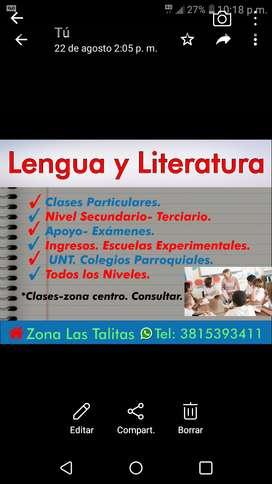 Clases Particulares de Lengua y Literatura.Todos los niveles