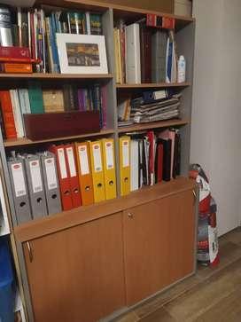Combo oficina escritorio en L más biblioteca con alzada Tisera, usada