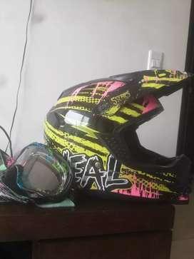 GANGA! Casco O'NEAL Motocross con gafas Oakley original