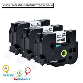 Cinta Compatible Brother Tze-251 24mm P-touch Rotuladora