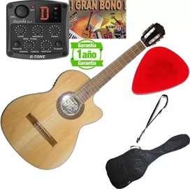 Guitarra Electroacustica aire artesanal Tapa Pino Micrófono Gt4