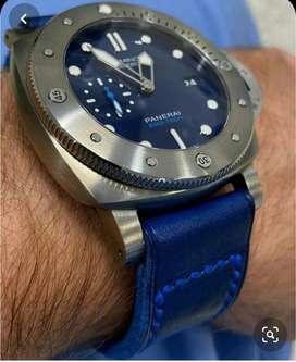 Manilla reloj cuero azul 22mm