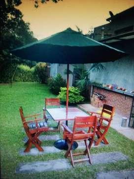 Juego mesa 4 sillas mesa con parasol