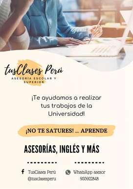 ASESORIAS Y CLASES PARA JOVENES UNIVERSIDAD