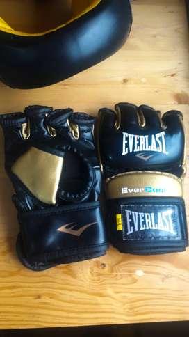 Kit MMA guantes(de box y mma) y casco EVERLAST