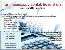 Contabilidad, Tributación, anexos, Inventarios, Presupuestos, Trámites IESS, Ministerio de trabajo