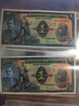 Linda pareja de billetes de un peso en serie algo que no debes dejar pasar para tu colección