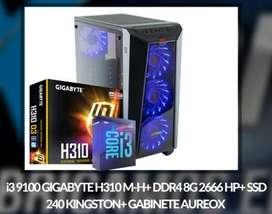 OFERTA! PC DE ESCRITORIO  I3 9100 GIGABYTE H310M-H + DDR4 8GB 2666 + SSD 240GB + GABINETE AUREOX