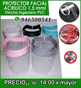 protector facial de acrilico 1.5 mml vincha ingeniero pvc