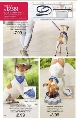 Set nuevo, correa para perro extensible, collar con pañuelo y plato
