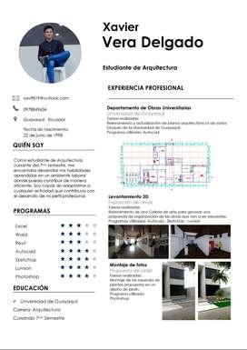 Estudiante de arquitectura para realización de planos arquitectónicos, recorridos 3D, montaje de fotos, etc.
