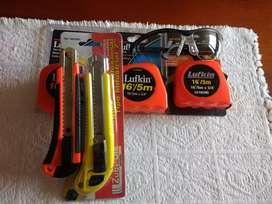 Kit 3 Flexometros Lufkin + Bistuti Mango Caucho + Bisturí Profesional Zubiola + Gafas de Seguridad