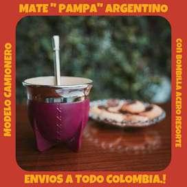"""MATE """" PAMPA"""" ARGENTINO MODELO CAMIONERO con BOMBILLA ACERO RESORTE !"""
