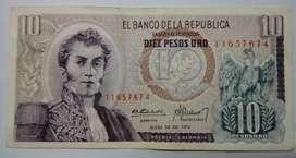 BILLETE 10 PESOS ORO COLOMBIA