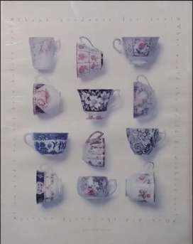 Cuadro Ingles tazas de Té enmarcado profesionalmente madera color vino tinto con vidrio Alto: 55.8 cm, Ancho: 45.8 cm
