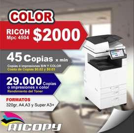 RICOH MPC4504 FULL COLOR ALTO GROSOR DE PAPEL OFERTA