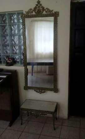 Hp Antiguo Espejo con Consola de Bronce