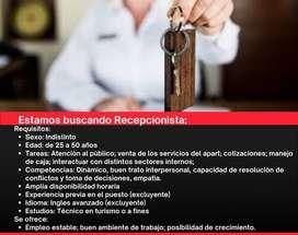 RECEPCIONISTA para Apart Hotel de Ciudad de Mendoza