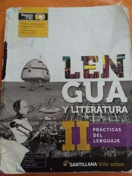 Libro de Lengua y literatura 2 editorial Santillana.