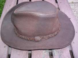 SOMBRERO WILSONS DE CUERO GENUINO, COLOR CAFE, TALLA MEDIUM