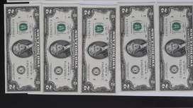 OFERTA billetes UNC de 2 dólares, año 2013, series correlativas.