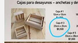 Cajas en madera Desayunos