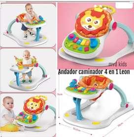 Caminador y andador para bebés tipo León - cuatro funciones en uno solo.