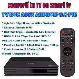 Convertí tu tv en Smart TV con el nuevo Tv Box A95x Android 9.0 4gb Ram 32gb Rom con Wifi y Bluetooth NUEVO