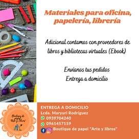 Venta de útiles escolares, papelería, suministros para oficina y librería